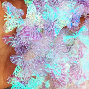 Sequins, Clear colour, 19mm x 23mm, 50 pieces, 5g, Butterfly shape, Sequins are shiny, [CZP611]